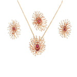 Salute to the Sun - 18 Karat Gold & Pink Tourmaline Jewelry Set