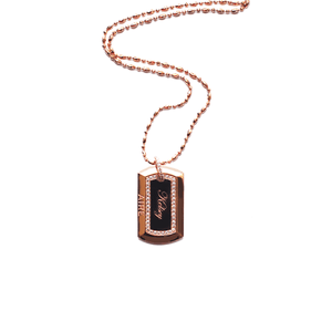 18 Karat Amber Hue Gold Military Dog Tag