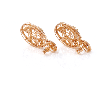 Crown Jewel Earrings -18 Karat Amber Hue Gold Diamond And White Topaz Earrings
