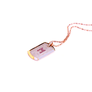 18 Karat Amber Hue Gold Full Diamond  Dog Tag with Rubies Necklace - Red Gold®