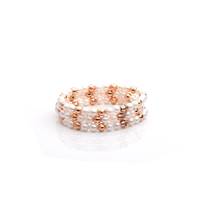 Load image into Gallery viewer, Pearlngold Bracelets- 18-Karat  Solid Amber Hue Gold & Pearl Beaded Bracelet