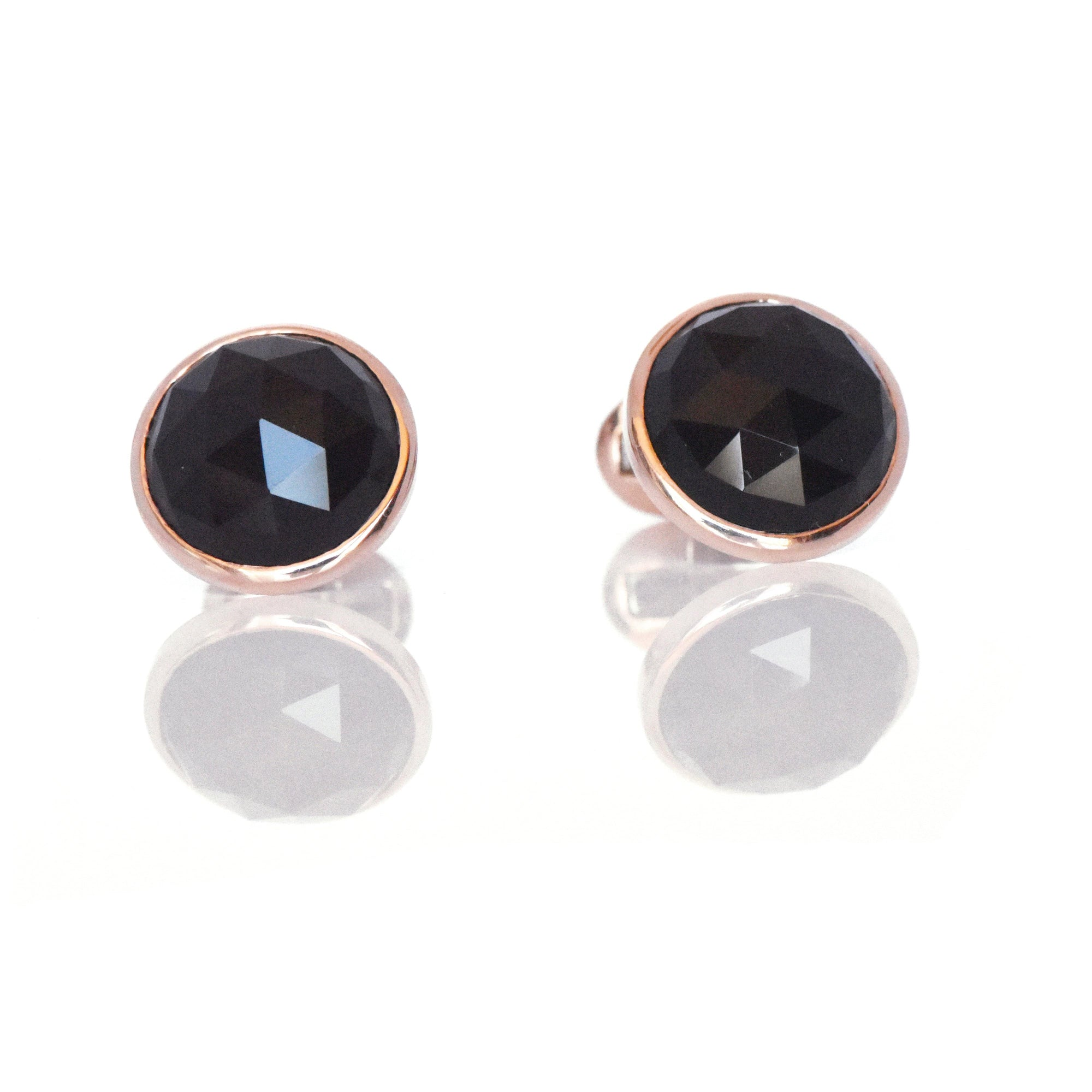 18k Amber Hue Solid Gold & Onyx Cufflinks