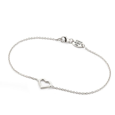 WHITE GOLD HEART BRACELET
