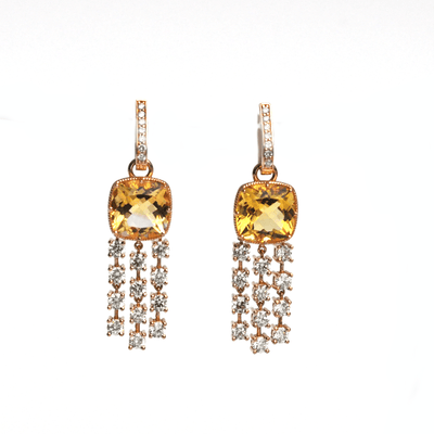 Luxury Dangles - Yellow Aquamarine Earrings