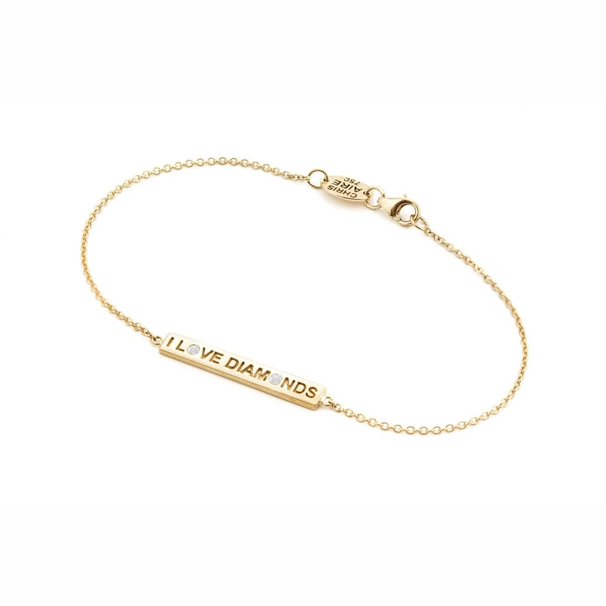 """I Love Diamonds"" 18 Karats Yellow Gold Bracelet"