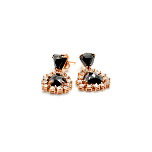 New-  18 KARAT GOLD AND BLACK AND WHITE DIAMOND EARRINGS - RED GOLD
