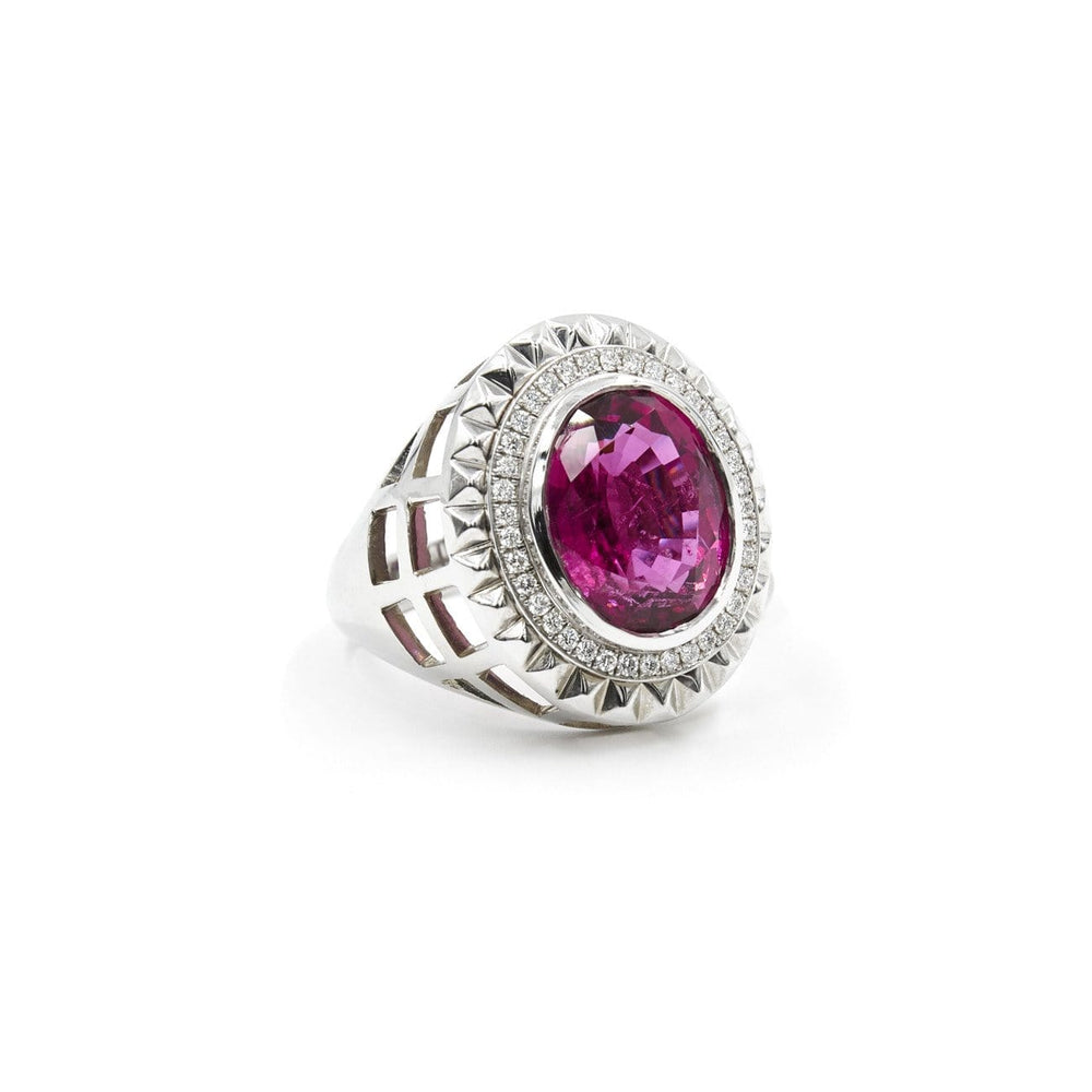 Aire-King's Signet - Red Tourmaline and Diamond Ring