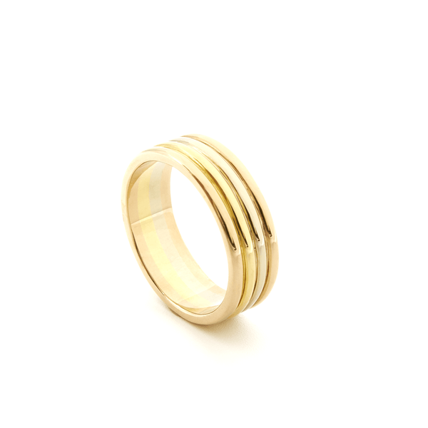 AIRE WEDDING BAND - TRI-COLOR GOLD