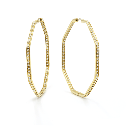 FENG SHUI HOOP-DIAMOND EARRINGS