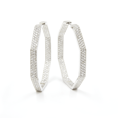 DIAMOND EARRINGS - FENG SHUI WIDE HOOP