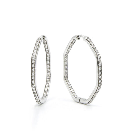 DIAMOND EARRINGS - SMALL FENG SHUI HOOP