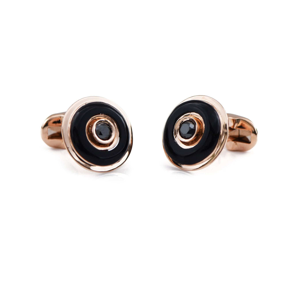 18K Gold Onyx and Black Diamond Cufflinks _ The everlasting gift - Chris Aire Fine Jewelry & Timepieces