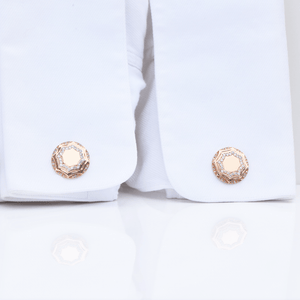 Macedonia Cufflinks -14K Amber Hue Gold, Diamond & Onyx Cufflinks  -  Red Gold®