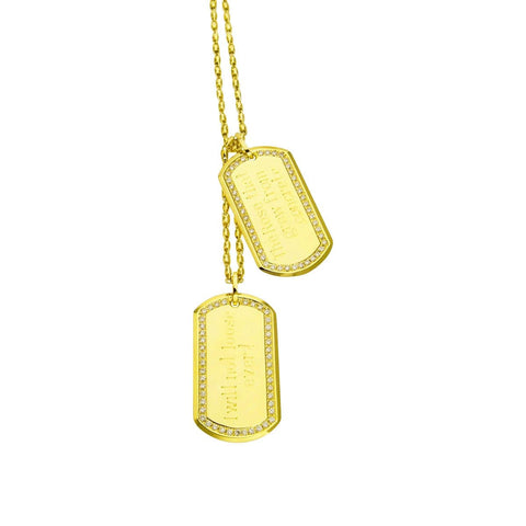 YELLOW GOLD DOG TAGS