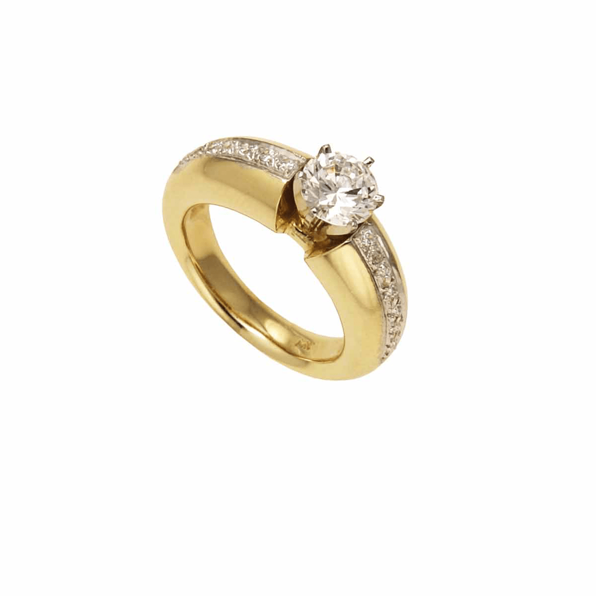 18 Karat Yellow Gold Engagement Ring -