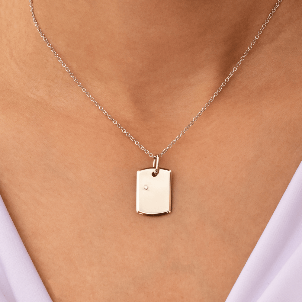 Load image into Gallery viewer, Baby Dog Tag - 18 Karat White Gold & Solitaire Diamond