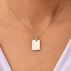 Baby Dog Tag - 18 Karat White Gold & Solitaire Diamond