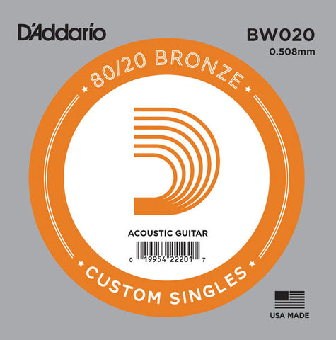 D'Addario Single String, 80/20 Bronze Wound, Ball End