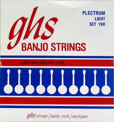 GHS 190 Banjo Strings, 4-String Plectrum, Light, Stainless Steel, 11-26
