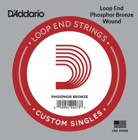 D'Addario Single String, Phosphor Bronze Wound, Loop End