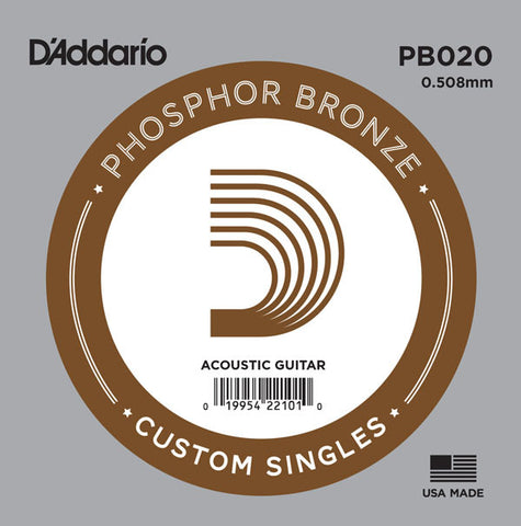 D'Addario Single String, Phosphor Bronze Wound, Ball End