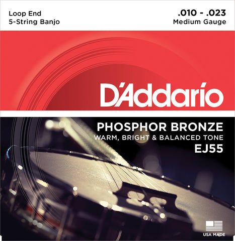 D'Addario EJ55 Banjo Strings, 5-String, Medium, Phosphor Bronze, 10-23