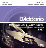 D'Addario EJ57 Banjo Strings, 5-String, Custom Medium, Nickel, 11-22