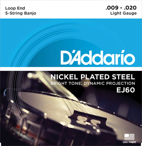 D'Addario EJ60 Banjo Strings, 5-String, Light, Nickel, 9-20