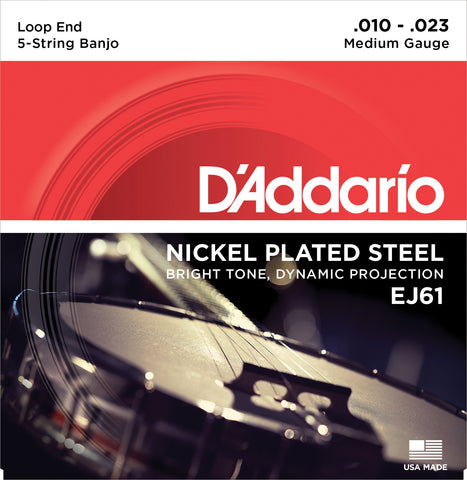 D'Addario EJ61 Banjo Strings, 5-String, Medium, Nickel, 10-23