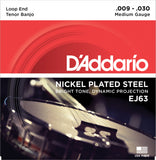 D'Addario EJ63 Banjo Strings, Tenor, Medium, Nickel, 9-30