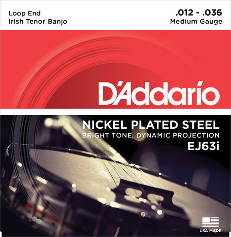 D'Addario EJ63I Banjo Strings, Irish Tenor, Medium, Nickel, 12-36
