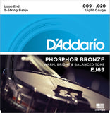 D'Addario EJ69 Banjo Strings, 5-String, Light, Phosphor Bronze, 9-20