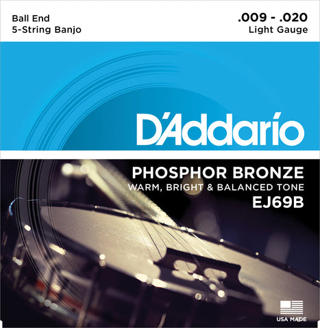 D'Addario EJ69B Banjo Strings, 5-String, Ball End, Light, Phosphor Bronze, 9-20