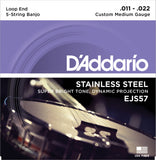 D'Addario EJS57 Banjo Strings, 5-String, Custom Medium, Stainless Steel, 11-22