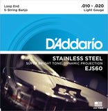 D'Addario EJS60 Banjo Strings, 5-String, Light, Stainless Steel, 10-20