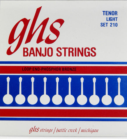 GHS 210 Banjo Strings, 4-String Tenor, Light, Phosphor Bronze, 9-28