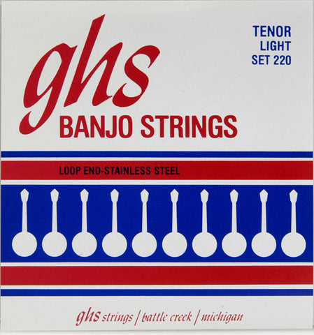 GHS 220 Banjo Strings, 4-String Tenor, Light, Stainless Steel, 10.5-28