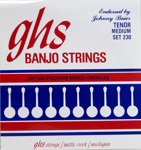 GHS 230 Banjo Strings, 4-String Tenor, Medium, Phosphor Bronze Chenilled, 11-30