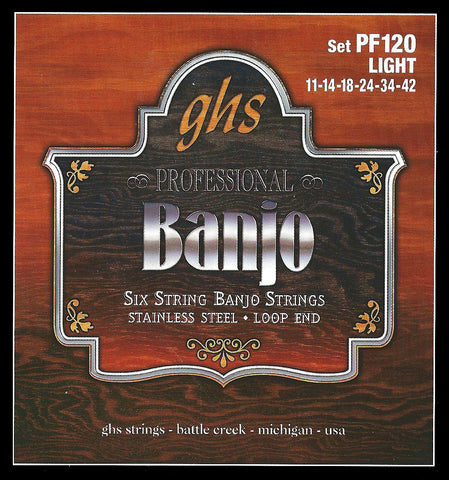 GHS PF120 Banjo Strings, 6-String, Light, Stainless Steel, 11-42