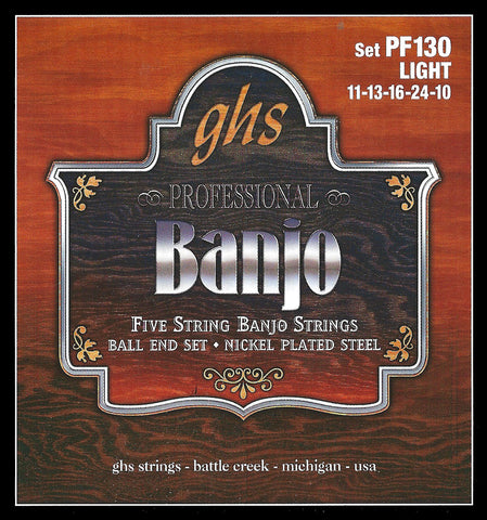 GHS PF130 Banjo Strings, 5-String, Ball End, Light, Stainless Steel, 10-22