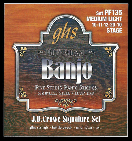 GHS PF135 Banjo Strings, 5-String, Medium Light, Stainless Steel, 10-20, JD Crowe Stage