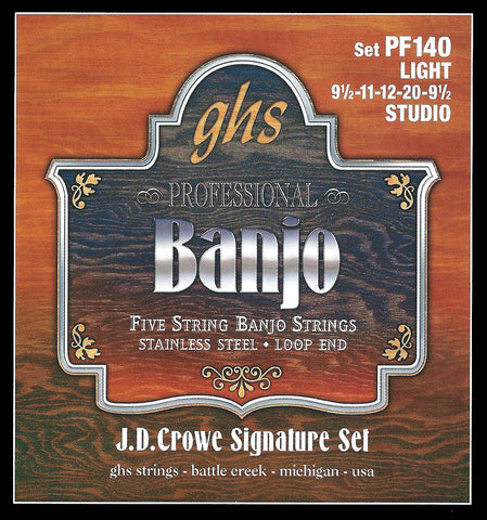 GHS PF140 Banjo Strings, 5-String, Light, Stainless Steel, 9.5-20, JD Crowe Studio