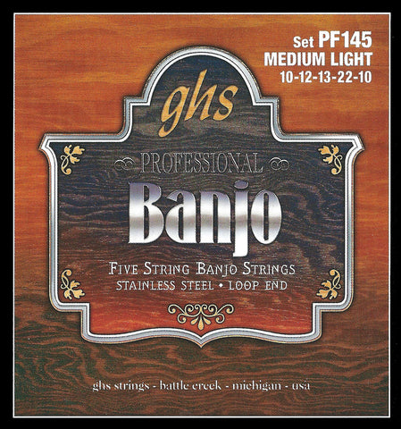 GHS PF145 Banjo Strings, 5-String, Medium Light, Stainless Steel, 10-22