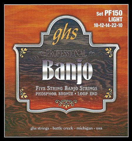 GHS PF150 Banjo Strings, 5-String, Light, Phosphor Bronze, 10-22