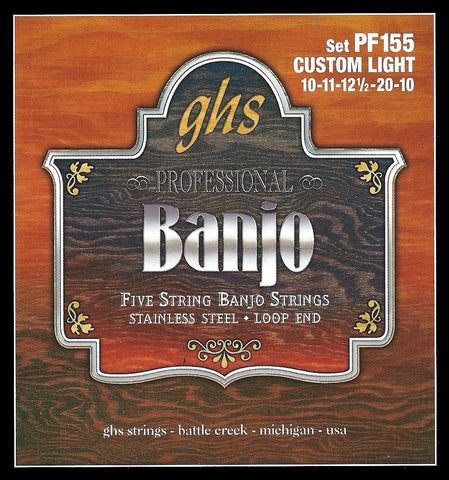GHS PF155 Banjo Strings, 5-String, Custom Light, Stainless Steel, 10-20