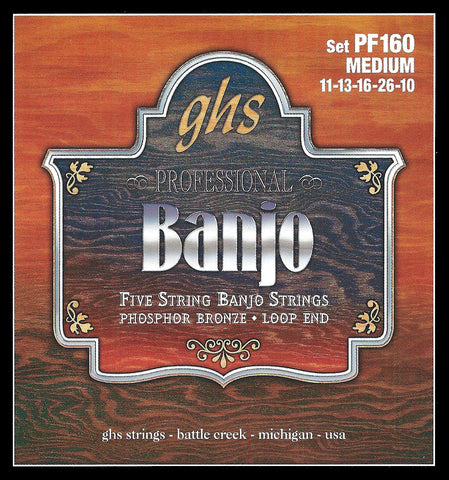 GHS PF160 Banjo Strings, 5-String, Medium, Phosphor Bronze, 11-26