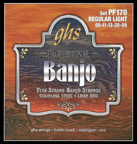 GHS PF170 Banjo Strings, 5-String, Regular Light, Stainless Steel, 9-20