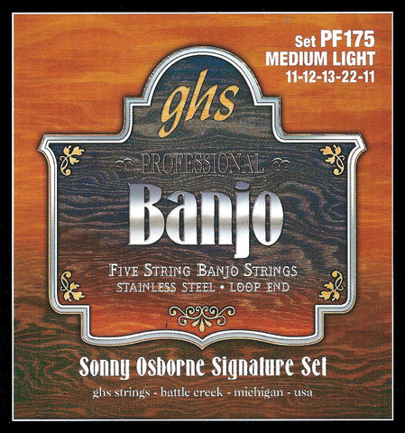 GHS PF175 Banjo Strings, 5-String, Medium Light, Stainless Steel, 11-22, Sonny Osborne