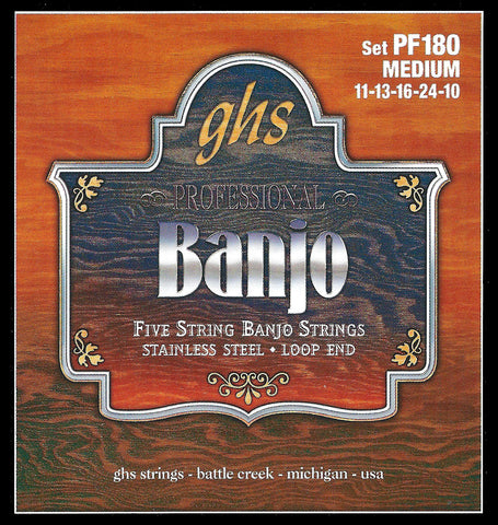 GHS PF180 Banjo Strings, 5-String, Medium, Stainless Steel, 11-24