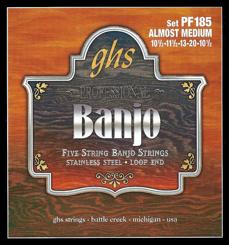 GHS PF185 Banjo Strings, 5-String, Almost Medium, Stainless Steel, 10.5-20
